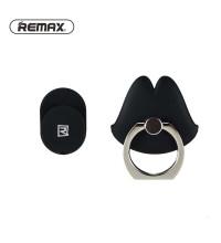 Remax Ring Holder Free Buckle, на палец, черный с серебристым кольцом