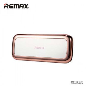 Внешний аккумулятор Remax Mirror Power Bank 5500 mAh (RPP-35) Pink с зеркальцем