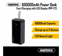 Remax Hunergy Series Power Bank 60000mAh, 4 USB, QC 3.0, SCP 22.4w, PD 18W, LED (RPP-173) black