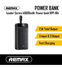 Remax Leader Series Power Bank 40000mAh, 3 USB, LED display (RPP-184) black