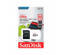 SanDisk Ultra 64Gb micro SDXC UHS-I Card Up to 100Mb/s with adapter (SDSQUNR-064G-GN3MA)