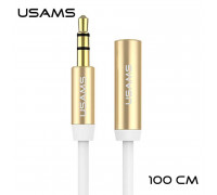 Usams Audio Adaptor, 1m, AUX-удлинитель (US-SJ055) white with gold