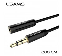 Usams Audio Adaptor, 2m, AUX-удлинитель (US-SJ056) black
