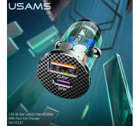 Usams C25 Mini Fast Car Charger, 42.5w,  QC3.0 22.5w + PD3.0 20w (US-CC127) прозрачно-синий
