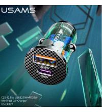 Usams C25 Mini Fast Car Charger, 42.5w,  QC3.0 22.5w + PD3.0 20w (US-CC127) черный с зеленым