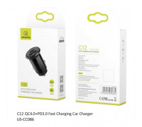 Usams C12 30W QC4.0+PD3.0 Car Charger (US-CC086) черный