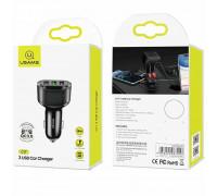 Usams C17  3 USB Car Charger, USB1 - 1A, USB2 - QC3.0, USB3 - 2.4A (US-CC100) black