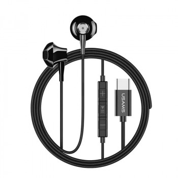 Usams Metal Type-C Earphone, стерео-наушники с разъемом Type-C (EP-25) black