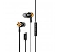 Usams EP-43 Type-C In-ear Metal Earphone, стерео-наушники с разъемом Type-C (US-SJ482) black