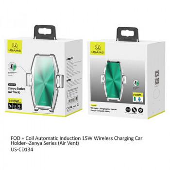 Usams Zenya Series Wireless Charging Car Mount, QI 15w (US-CD134) silver