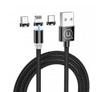 Usams U-Sure 3-in-1 Magnetic Charging Cable (M+L+C), 1m, 2.1A, в оплетке, магнитный (US-SJ438) black