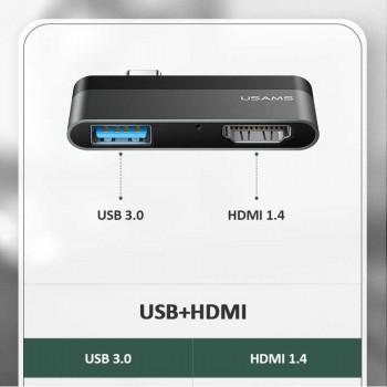 Usams Type-C Mini HUB 1xUSB3.0 + HDMI 1.4 4K@30Hz (US-SJ462) black