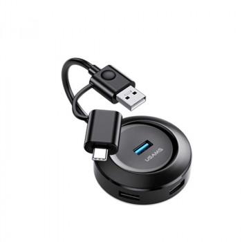 Usams 4 USB Hub + OTG Type-C, 1.2m, 1xUSB3.0 + 3xUSB2.0, microUSB input (US-SJ416) black