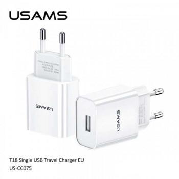 Usams T18, 1xUSB, 2.1A (US-CC075) white