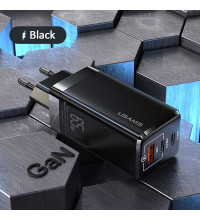 Usams T33 Gan Mini Fast Charger (EU) C+C+U,  PD 65w, QC 3.0 30w (US-CC110) black