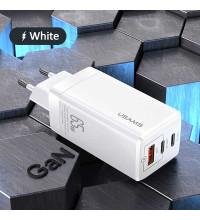 Usams T33 Gan Mini Fast Charger (EU) C+C+U,  PD 65w, QC 3.0 30w (US-CC110) white