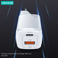Usams T37 Super Si QC+PD Fast Charger 20W (EU),  QC 20W + PD 20w (US-CC128) white