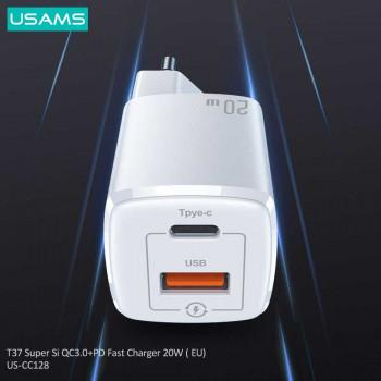 Usams T37 Super Si QC+PD Fast Charger 20W (EU),  QC 20W + PD 20w (US-CC128) white