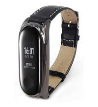 Mijobs Leather strap plus for Mi Band3 & 4, кожаный ремешок для MI Band 3 и 4, черный