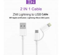 Xiaomi ZMI 2in1 Cable, MFI, MicroUSB+Lightning, 1m (AL801) white