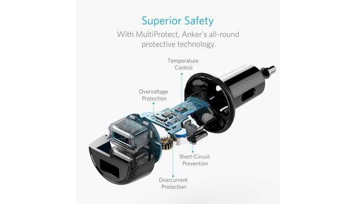 Быстрая и безопасная автомобильная зарядка Anker PowerDrive Elite 2 для телефона