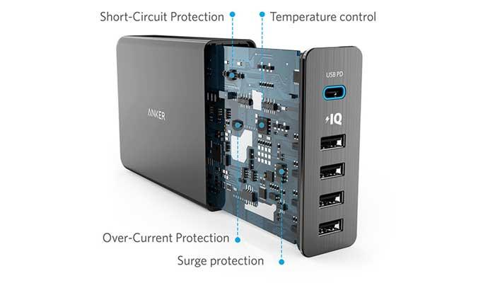 Anker PowerPort+ 5 USB-C с системой защиты от скачков напряжения
