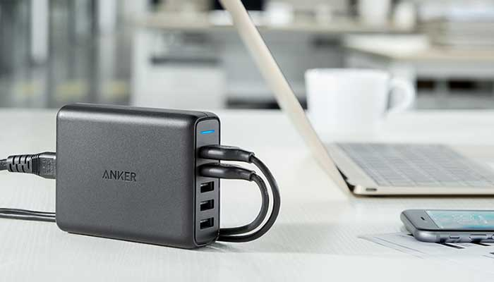 Anker 63W PowerPort Speed 5 with 2 Ports Quick Charge 3.0