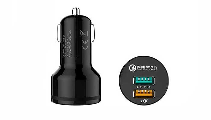 Aukey 2 Port Car Charger with Qualcomm Quick Charge 3.0 (CC-T7)