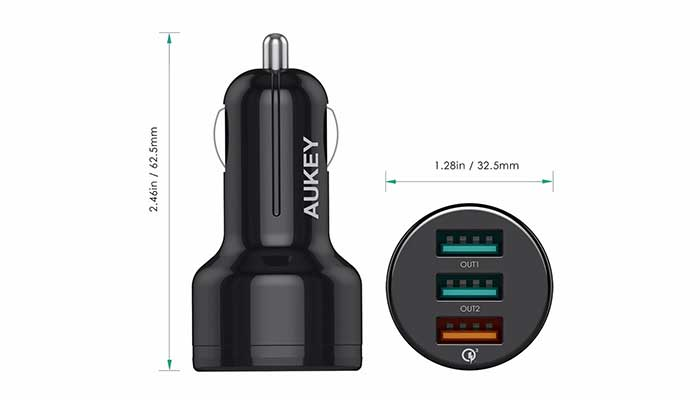 Aukey 3 Port Car Charger with Qualcomm Quick Charge 3.0 (CC-T11)