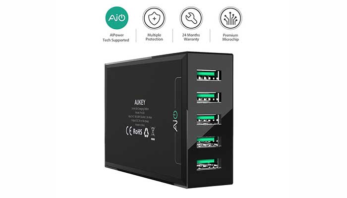 Aukey 50W 10A 5-Port USB Charging Station