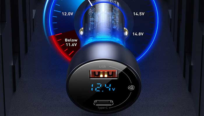Baseus Particular Digital Display PPS 65W Type-C PD3.0 + USB QC4.0, 45w, VCKX65C  (CCKX-C0A) gray