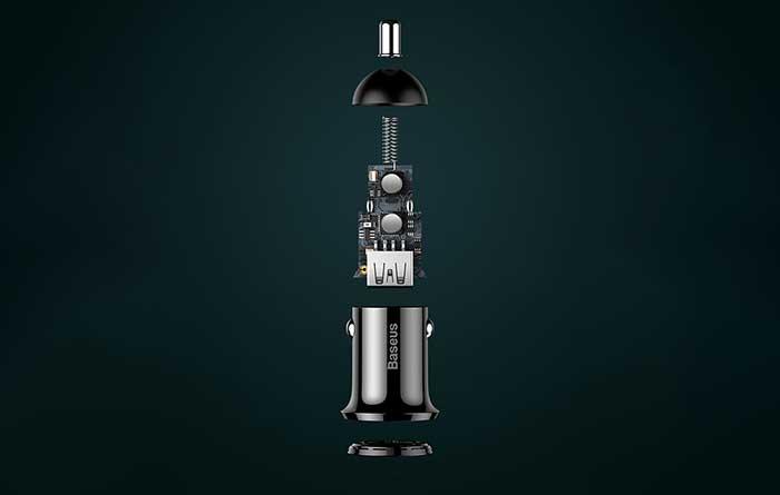 Baseus Grain Pro Car Charger 4.8A 2USB (CCALLP-01) black