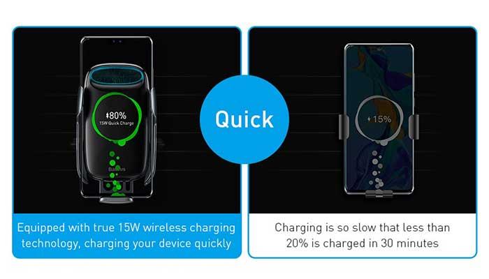 Автомобильный держатель с беспроводной зарядкой Baseus Milky Way Electric Bracket Wireless Charger 15W (WXHW02-01)