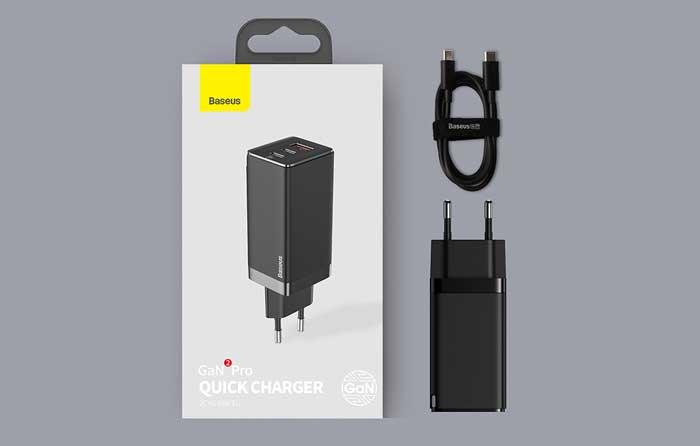 Baseus GaN 2 Pro Quick Charger C+C+U, 65w, USB QC 60w, cabel C-C 100w, CCGAN65E2 (CCGAN2P-B01) black
