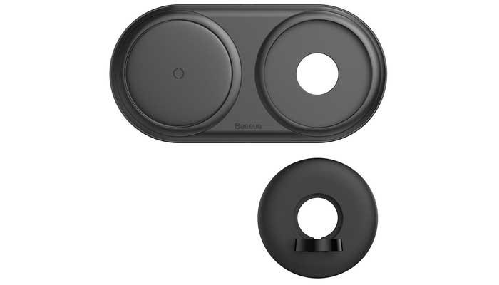 Baseus Planet 2-in-1, QI0w + USB 1A for Watch, с блоком 24w (WXPL-B01) black