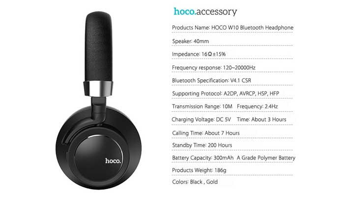 Характеристики Hoco W10 Cool Yin Wireless Headphone