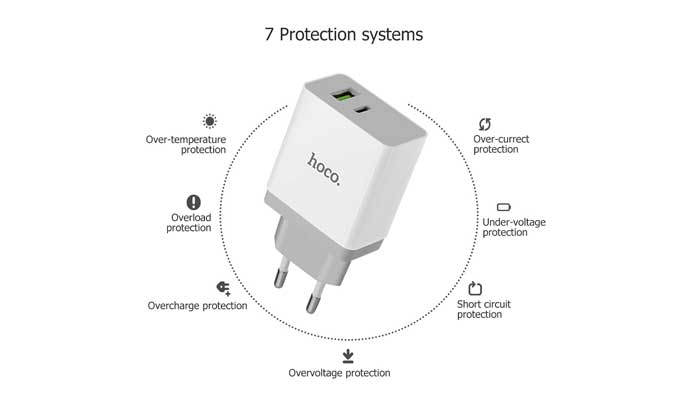 Hoco C24A QC3.0 + USB Type-C Wall Charger