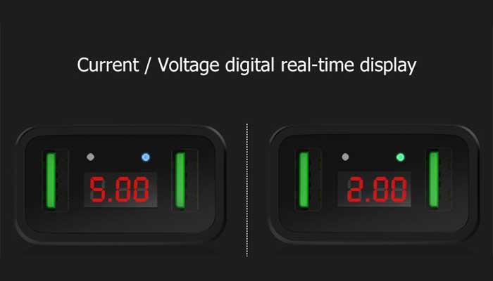 Hoco C25A с дисплеем показывает вольтаж и силу тока