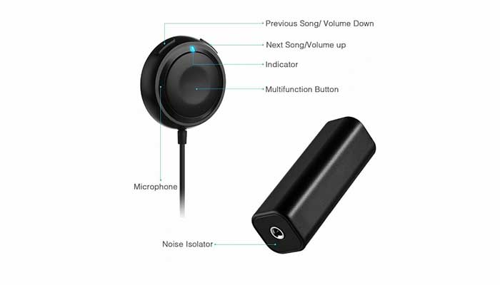 MPOW GEBH034AB Bluetooth 4.0 Audio Receiver with Noise Isolator