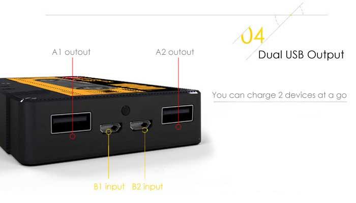 Портативное зарядное устройство для одновременной подпитки двух телефонов.