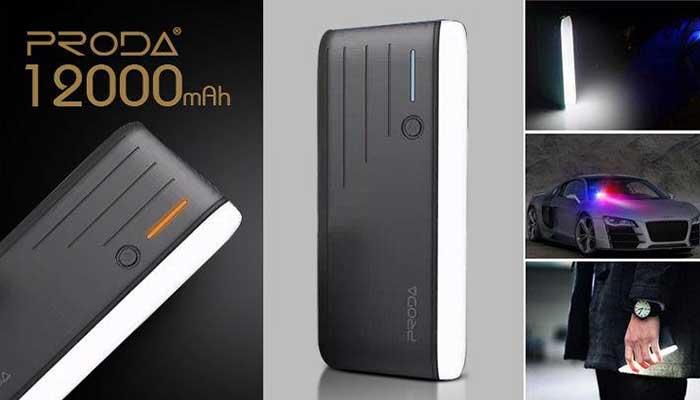 Портативный аккумулятор с супер ярким фонариком Remax Time 12000 mah
