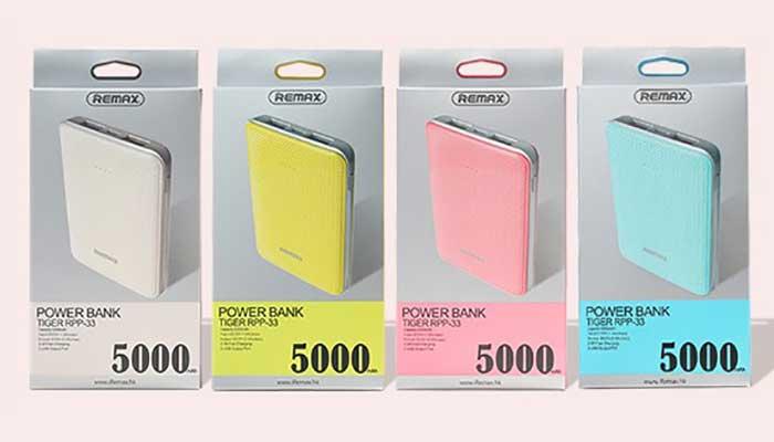 Remax Tiger 5000 mah в 4 цветах: белый, желтый, розовый, голубой