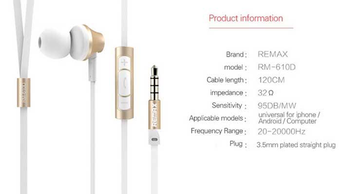 Характеристики наушников Remax 610D
