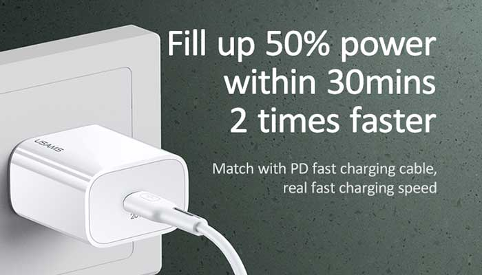 Usams T34 PD Fast Travel Charger (EU),  PD 20w (US-CC118) white