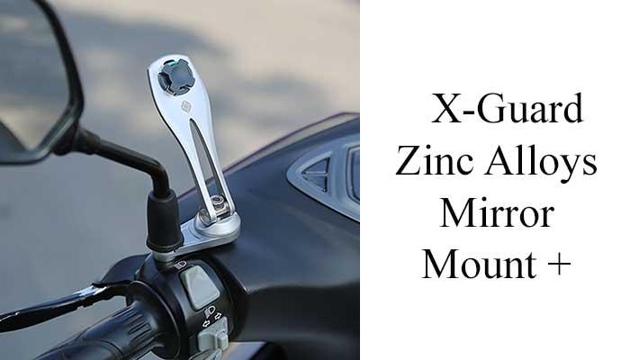 Держатель для телефона на зеркало мотоцикла X-Guard Zinc Alloys Mirror Mount + matt silver